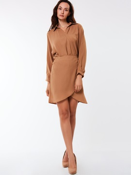Ericdress Side Lapel Lace-Up Asymmetrical Casual Dress