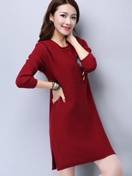 Ericdress Knitting Solid Color Strip Sweater Dress