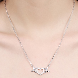 Ericdress Heart-Shaped Diamante Pendant Necklace