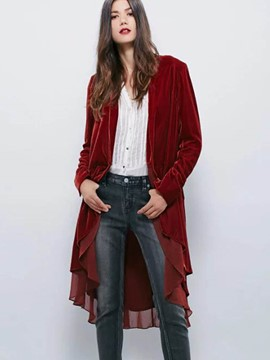 Ericdress Loose Chiffon Patchwork Trench Coat