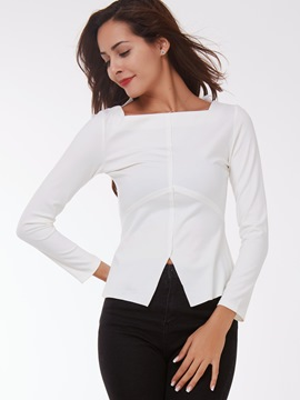 Ericdress White Square Neck Slim T-Shirt