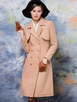 Ericdress Solid Color Slim Buttons European Coat