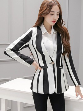 Ericdress Color Block Pocket Stripped Blazer