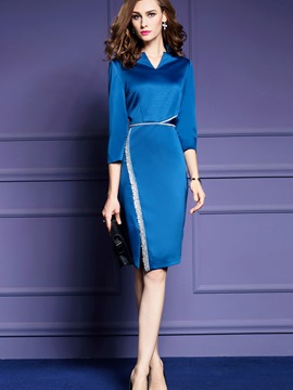Ericdress V-Neck Patchwork Three-Quarter Sleeve Sheath Dress
