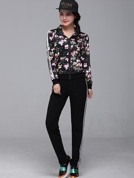 Ericdress Simple Floral Print Hoodie Leisure Suit