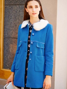 Ericdress Color Block Single-Breasted Sweet Coat