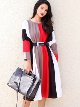 Ericdress Color Block Patchwork Belt Casual Dress