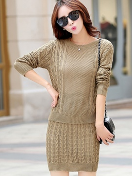 Ericdress Stripe Weave Sweater Bodycon Suit