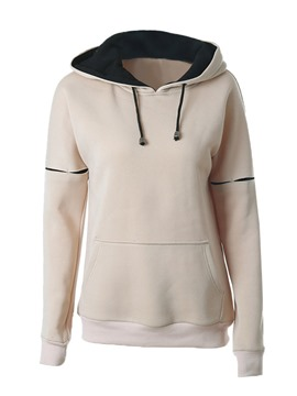 Ericdress Loose Color Block Lace-Up Hoodie