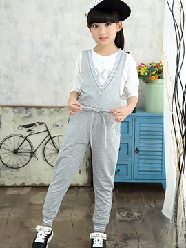 Ericdress Plain Lace-Up Girls' Jumpsuit