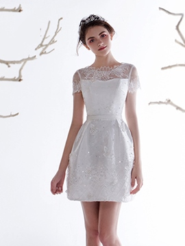 Ericdress Charming Short Sleeves Backless Short Wedding Dress