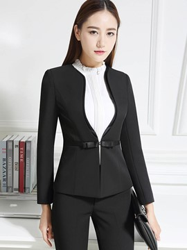 Ericdress Solid Color Slim Belt Formal Blazer