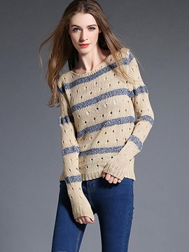 Ericdress Stripe Hollow Detail Knitwear