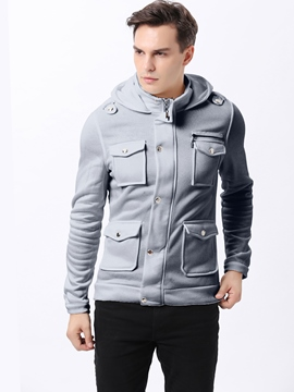 Ericdress Plain Multi-Pocket Warm Men's Hoodie