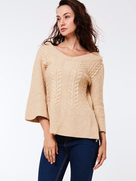 Ericderss Solid Color Three-Quarter Loose Knitwear