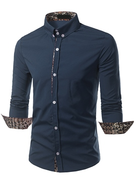 Ericdress Print Patchwork Long Sleeve Men's Shirt