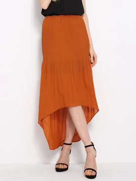 Ericdress Asymmetric Pleated Usual Skirt