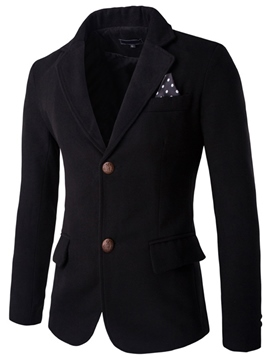 Ericdress Plain Basic Men's Woolen Blazer