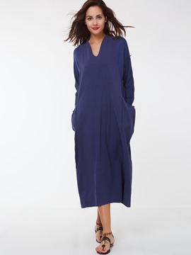Ericdress Plain V-Neck Loose Maxi Dress