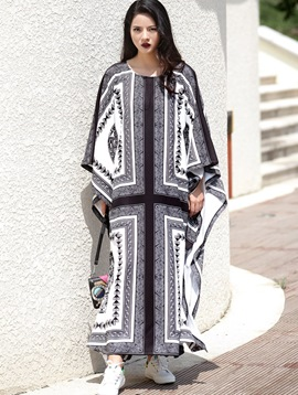 Ericdress Bohemian Loose Batwing Sleeve Maxi Dress