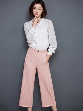 Ericdress Solid Color Wide Legs Pants Leisure Suit