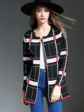 Ericdress Plaid Vogue Cardigan Knitwear
