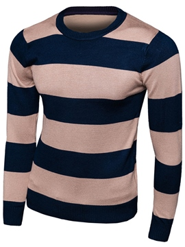 Ericdress Wide Stripe Crew Neck Pullover Men's Sweater