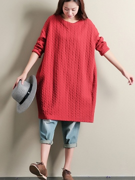 Ericdress Solid Color Loose Thick Casual Dress