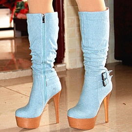 Ericdress Denim Platform Side Zipper Ultra-High Knee High Boots