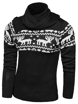 Ericdress Heap Collar Vogue Jacquard Men's Sweater