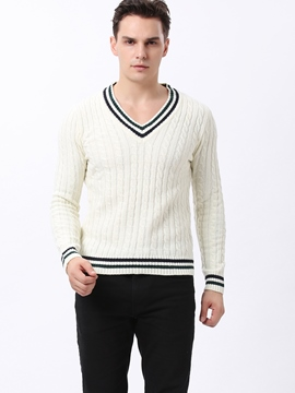 Ericdress Stripe Hem V-Neck Jacquard Warm Men's Sweater