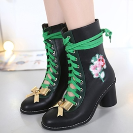 Ericdress Ethnic Bowtie Lace up Ankle Boots
