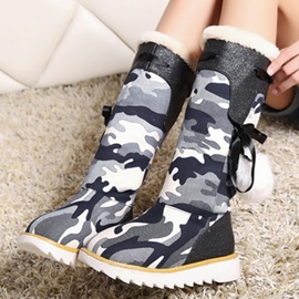 Ericdress Camouflage Pompom Snow Boots