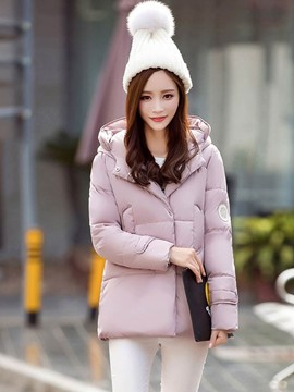 Ericdress Solid Color Loose Hooded Thick Coat