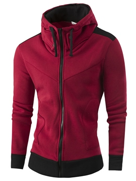 Ericdress High Collar Zip Casual Men's Hoodie