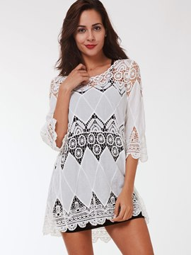 Ericdress White Hollow Lace Trim T-Shirt
