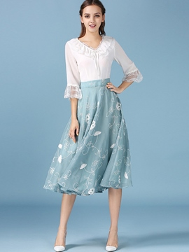 Ericdress Sweet Floral Ruffled Collar Flare Sleeve Casual Dress