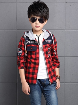 EricdressPlaid Hooded Boys Jacket