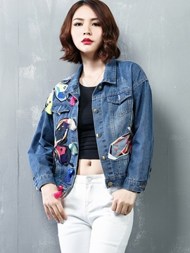 Ericdress Color Block Patchwork Denim Outerwear