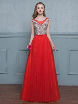 Ericdress A-Line Scoop Beaded Sequins Floor-Length Evening Dress