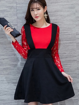 Ericdress Lace Hollow Patchwork Double-Layer Casual Dress