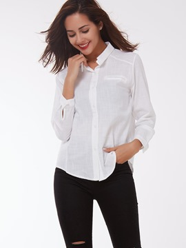 Ericdress White Single-Breasted Blouse