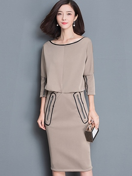 Ericdress Zipper Sleeve Patchwork Hemming Sheath Dress