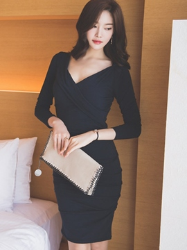 Ericdress Solid Color Pleated Square Neck Sheath Dress