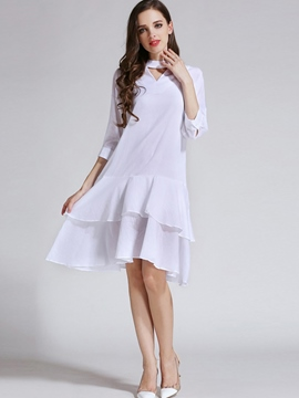 Ericdress Plain Hollow Double-Layer Casual Dress