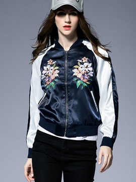 Ericdress Color Block Embroidery Jacket