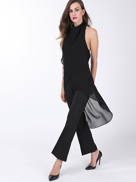Ericdress Black Chiffon Backless Jumpsuits Pants