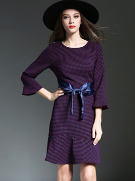 Ericdress Plaid Lace-Up Three-Quarter Sleeve Casual Dress