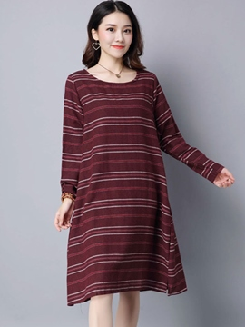 Ericdress Strip Trumpet Knee-Length Round Neck Casual Dress