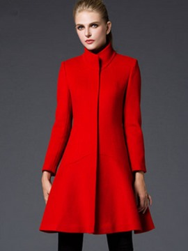 Ericdress Solid Color Slim Stand Collar Coat